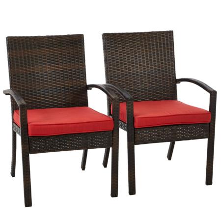 2 Jakarta Patio Arm Chairs Chilli Red Garden Furniture