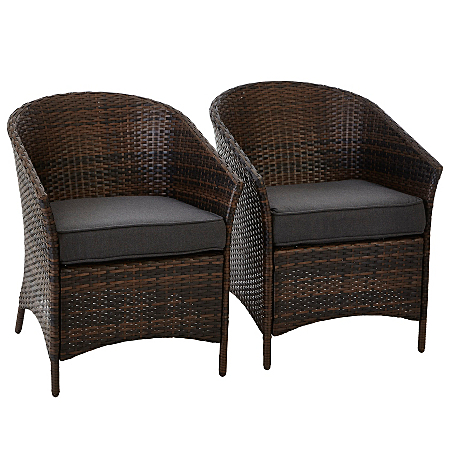 2 jakarta classic patio tub chairs charcoal grey garden for Outdoor furniture jakarta