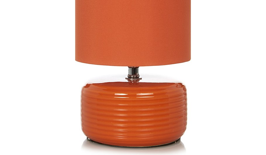 george home ridged ceramic table lamp orange lighting. Black Bedroom Furniture Sets. Home Design Ideas