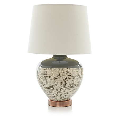 george home glazed ceramic grey dot lamp lighting asda. Black Bedroom Furniture Sets. Home Design Ideas