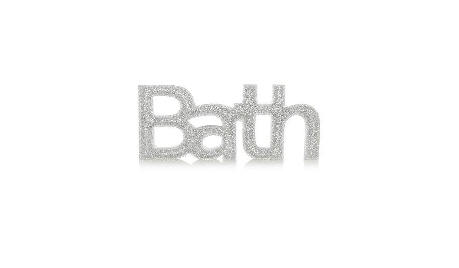 George Home Glitter Bath Sign. Bathroom Ornaments   Bathroom Accessories   Home   Garden   George