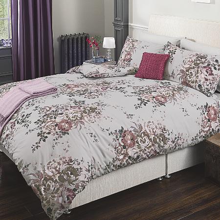 George Home Purple Floral Bouquet Duvet Set Bedding