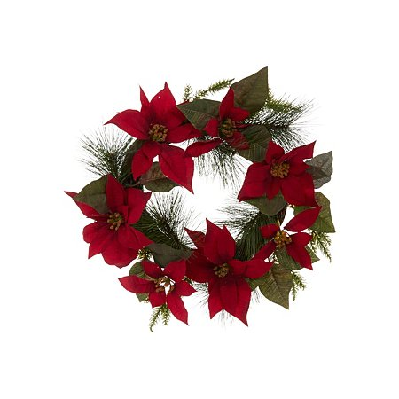 poinsettia wreath outdoor decorations asda direct. Black Bedroom Furniture Sets. Home Design Ideas