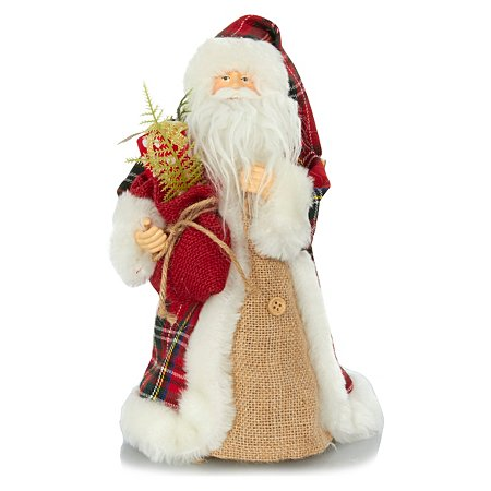 tartan santa tree topper tree decorations asda direct. Black Bedroom Furniture Sets. Home Design Ideas