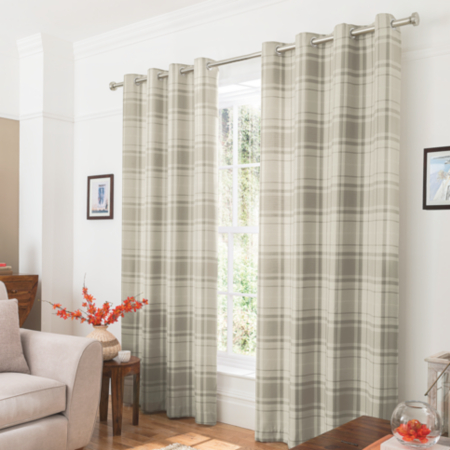George Home Natural Woven Check Curtains | Curtains | ASDA ...
