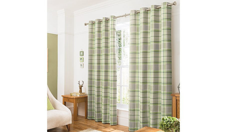 Green Check Curtains
