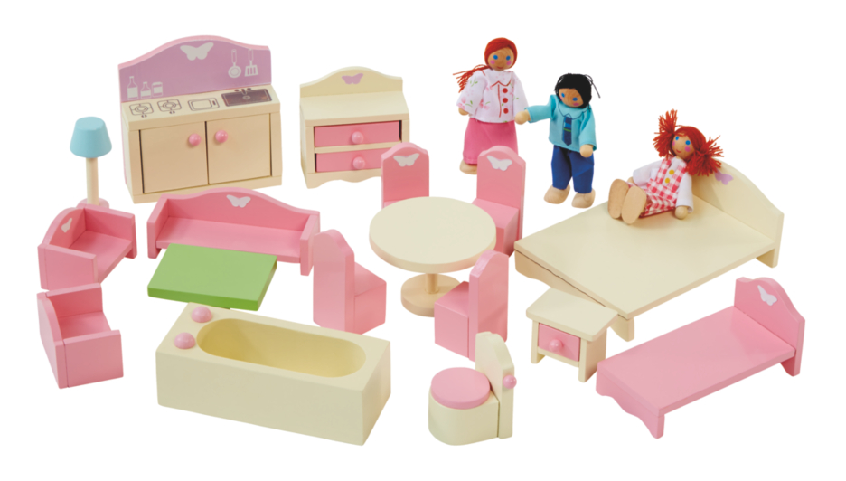 george home wooden doll house furniture set
