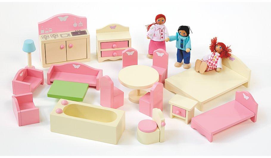 Girls Kids Childrens Wooden Nursery Bedroom Furniture Toy: George Home Wooden Doll House Furniture Set