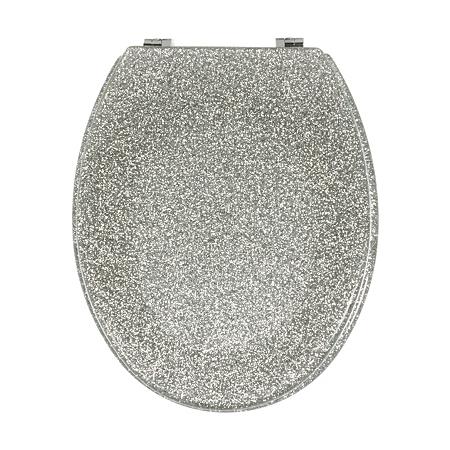 george home glitter toilet seat silver bathroom. Black Bedroom Furniture Sets. Home Design Ideas