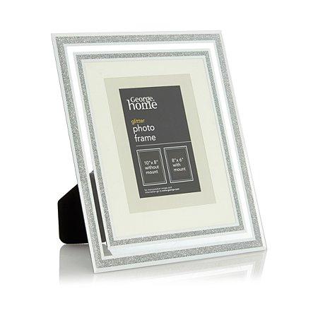 george home mirror glitter edged photo frame 8 x 6 inch. Black Bedroom Furniture Sets. Home Design Ideas