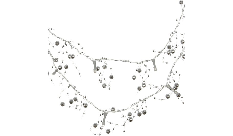 George Home Silver Beaded String Lights Home & Garden George at ASDA