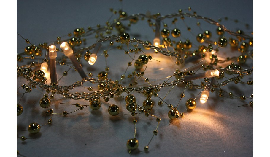 George Home Gold Beaded String Lights Lighting George at ASDA