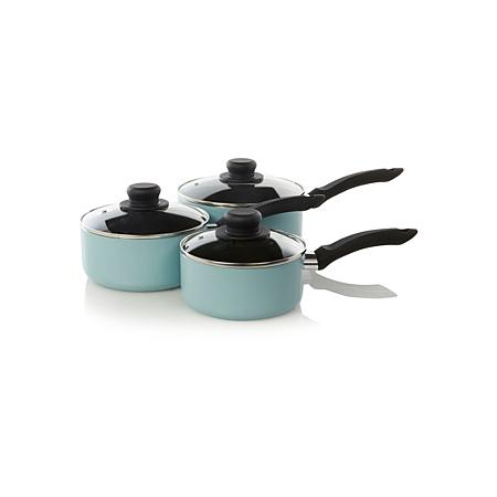 george home 3 piece non stick aluminium saucepan set aqua. Black Bedroom Furniture Sets. Home Design Ideas