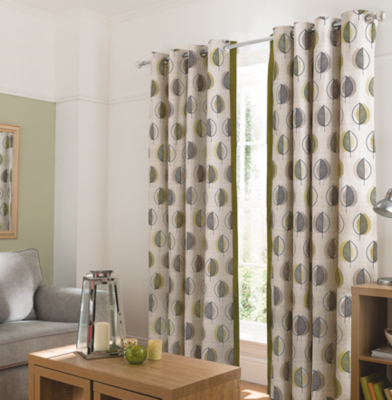 George Home Green Leaf Design Curtains with Contrast Edge