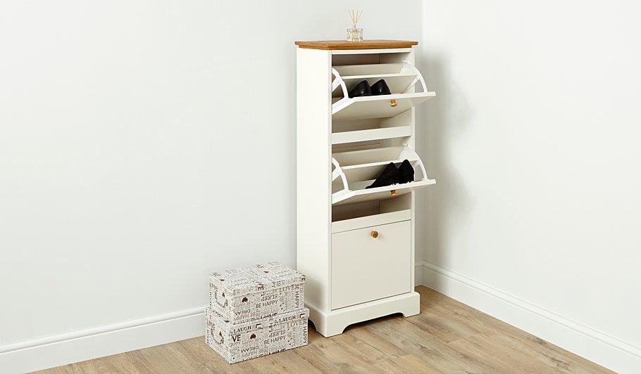 george home gilmore shoe storage oak effect and white. Black Bedroom Furniture Sets. Home Design Ideas