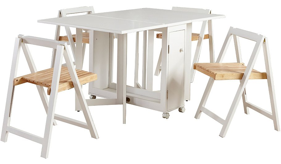 george home folding compact dining table and 4 chairs white home garden george at asda. Black Bedroom Furniture Sets. Home Design Ideas
