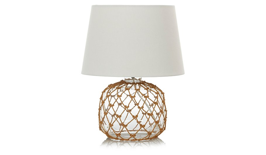 george home rope glass table lamp lighting george at asda. Black Bedroom Furniture Sets. Home Design Ideas