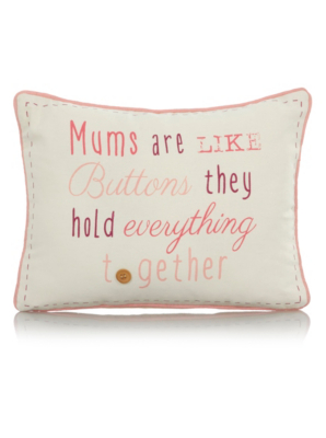 George Home Mums Are Like Buttons Slogan Cushion 40x30cm