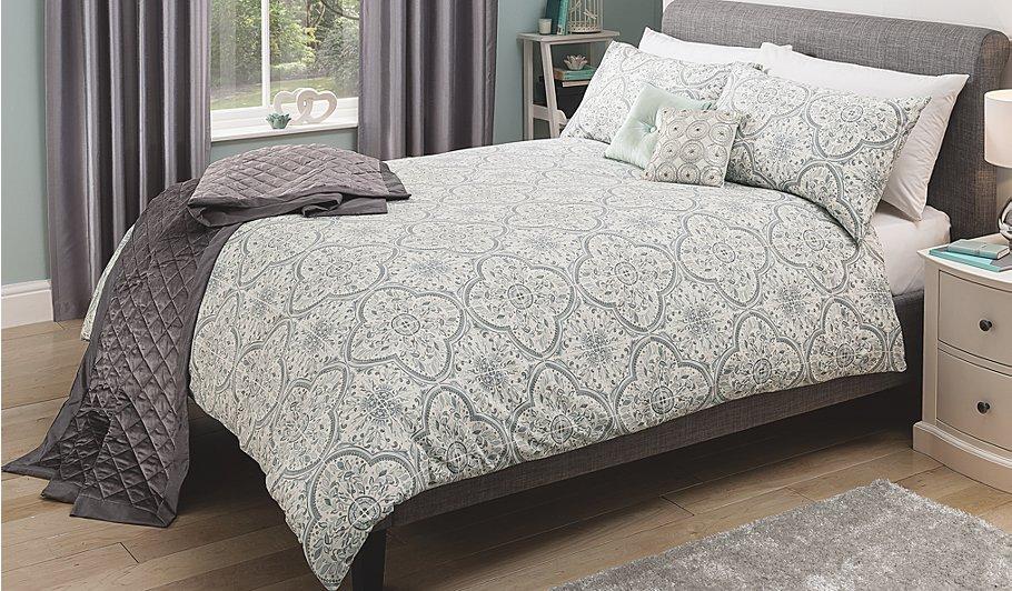 George Home Grey Tile Damask Duvet Set Bedding George