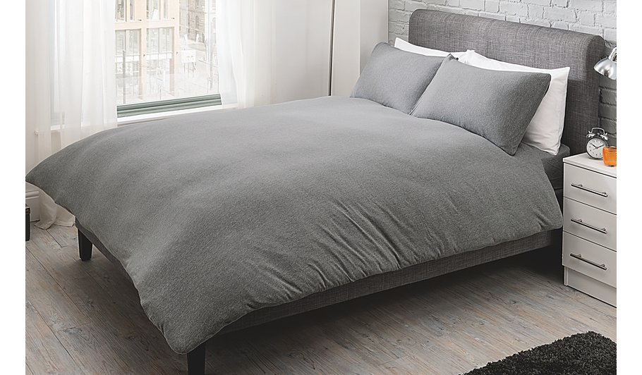 George Home Grey Jersey Bed Duvet Set Home Garden George At ASDA