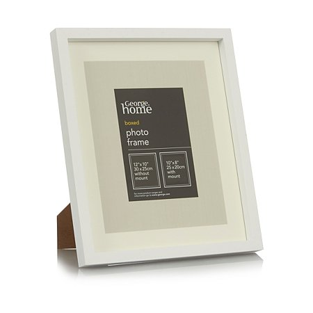 george home white boxed photo frame 12 x 10 inch plain. Black Bedroom Furniture Sets. Home Design Ideas