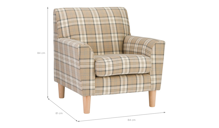 George Home Maggie Accent Chair In Woven Herringbone Check