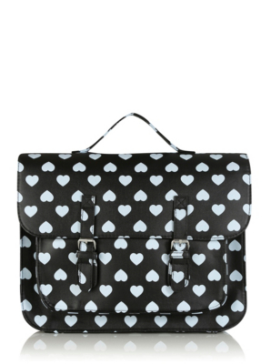 Black and white heart satchel