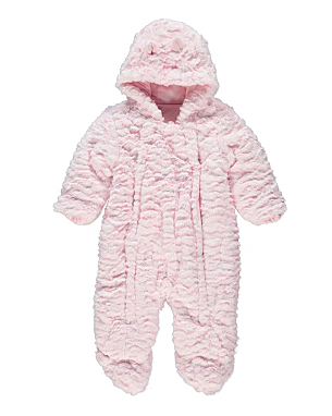 BABY. Baby Girl Clothing Infants' girls' pale pink Le Guignol snowsuit with detachable faux fur-lined hood, dual seam pocket at waist, detachable mittens, elasticized trimming and exposed zip closure at front. Size not listed, estimated from measurements. Chest: 23