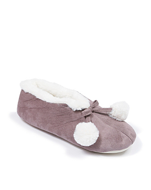 pom pom slipper booties women george at asda. Black Bedroom Furniture Sets. Home Design Ideas