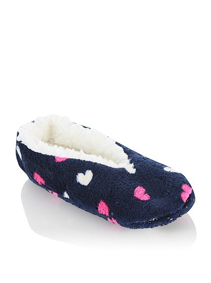 heart print slipper socks women george at asda. Black Bedroom Furniture Sets. Home Design Ideas
