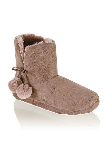 pompom slipper boots women george at asda. Black Bedroom Furniture Sets. Home Design Ideas