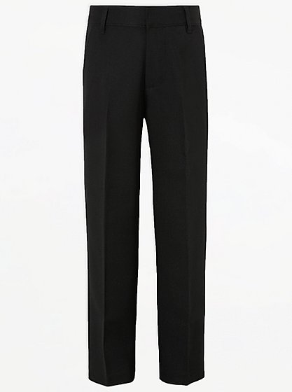 Boys School Long Length Trousers – Black | School | George at ASDA