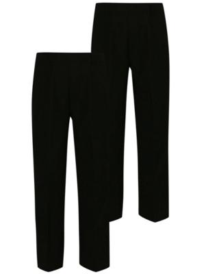 Boys School 2 Pack Half Elasticated Waist Trousers – Black