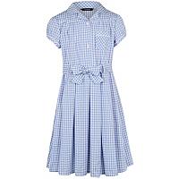 Girls School Gingham Dress Light Blue School George