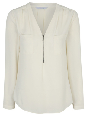 Zip Front Blouse White 109