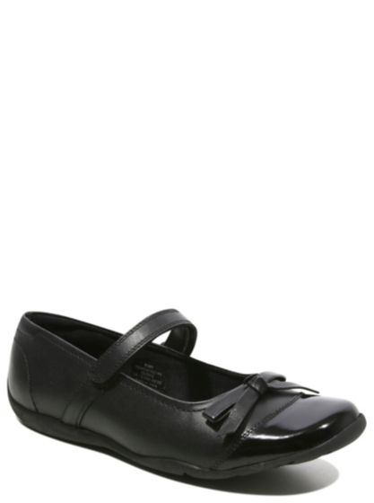 school leather bow detailed shoes black school