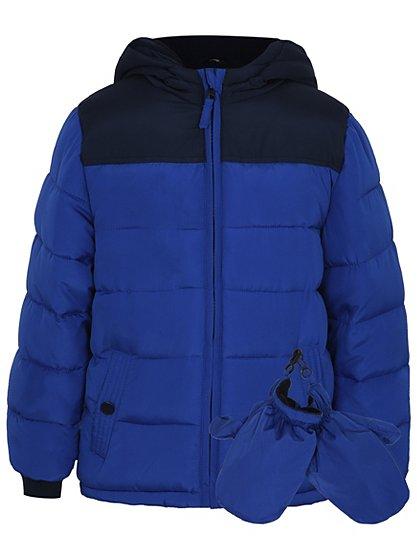 padded coat with mittens kids george at asda. Black Bedroom Furniture Sets. Home Design Ideas