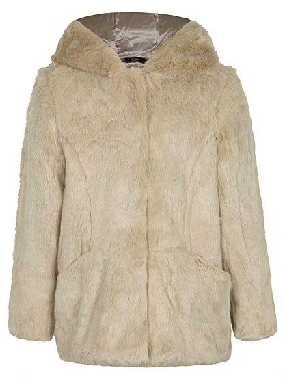 faux fur coat and hood kids george at asda. Black Bedroom Furniture Sets. Home Design Ideas