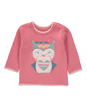 Owl Knitted Jumper Baby George at ASDA