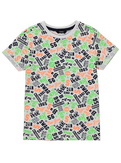 All Over Neon Print T Shirt Kids George At Asda