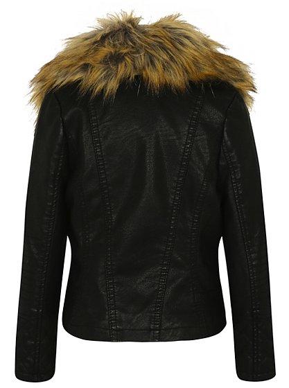 faux fur collar faux leather jacket kids george at asda. Black Bedroom Furniture Sets. Home Design Ideas