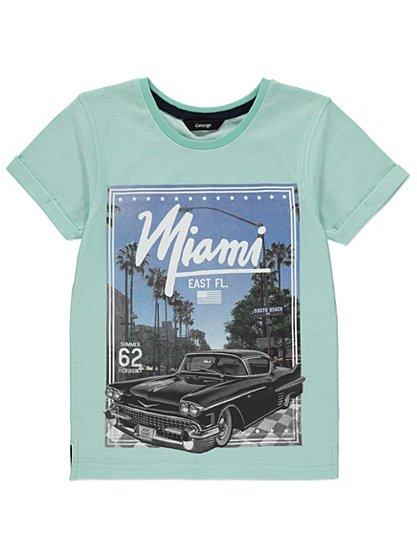 Miami car print t shirt kids george at asda for Miami t shirt printing