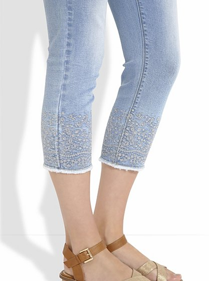 Embroidered cropped skinny jeans women george at asda