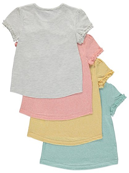 4 pack frill sleeve t shirts kids george at asda for Frill sleeve t shirt