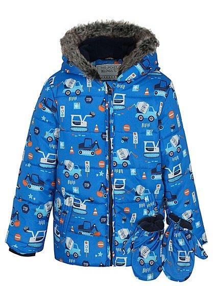 truck print shower resistant coat with mittens kids. Black Bedroom Furniture Sets. Home Design Ideas