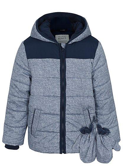 shower resistant padded coat with mittens kids george. Black Bedroom Furniture Sets. Home Design Ideas