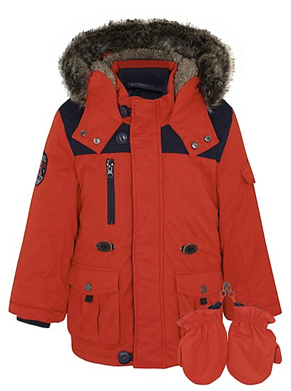 3 in 1 padded jacket with mittens kids george at asda. Black Bedroom Furniture Sets. Home Design Ideas