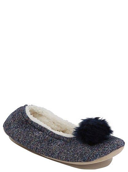 pom pom trim slippers women george at asda. Black Bedroom Furniture Sets. Home Design Ideas