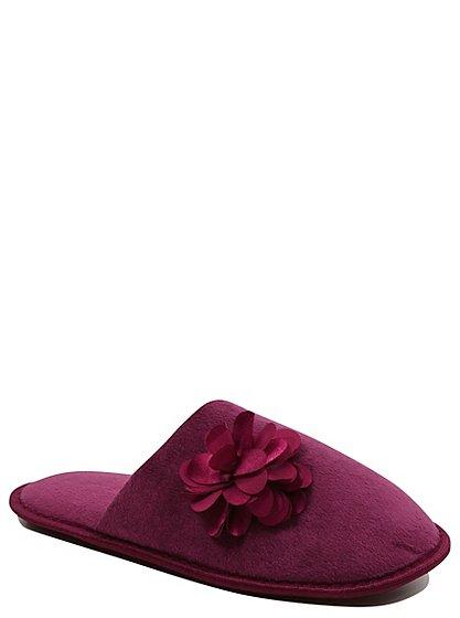 corsage trim fleece mule slippers women george at asda. Black Bedroom Furniture Sets. Home Design Ideas