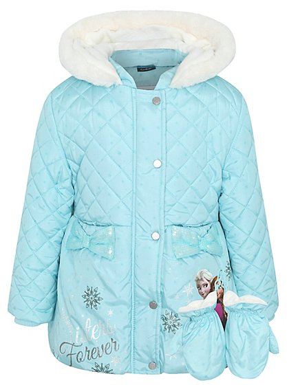 disney frozen quilted coat with mittens kids george at. Black Bedroom Furniture Sets. Home Design Ideas